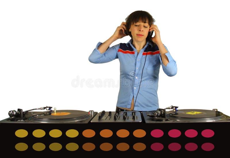 Flippige Frau DJ lizenzfreie stockfotografie