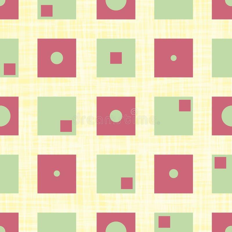 Flippige gr?ne und rote Quadrate mit inneren Kreisen und Rechtecke im geometrischen Entwurf Nahtloses Vektormuster auf Segeltuch lizenzfreie abbildung