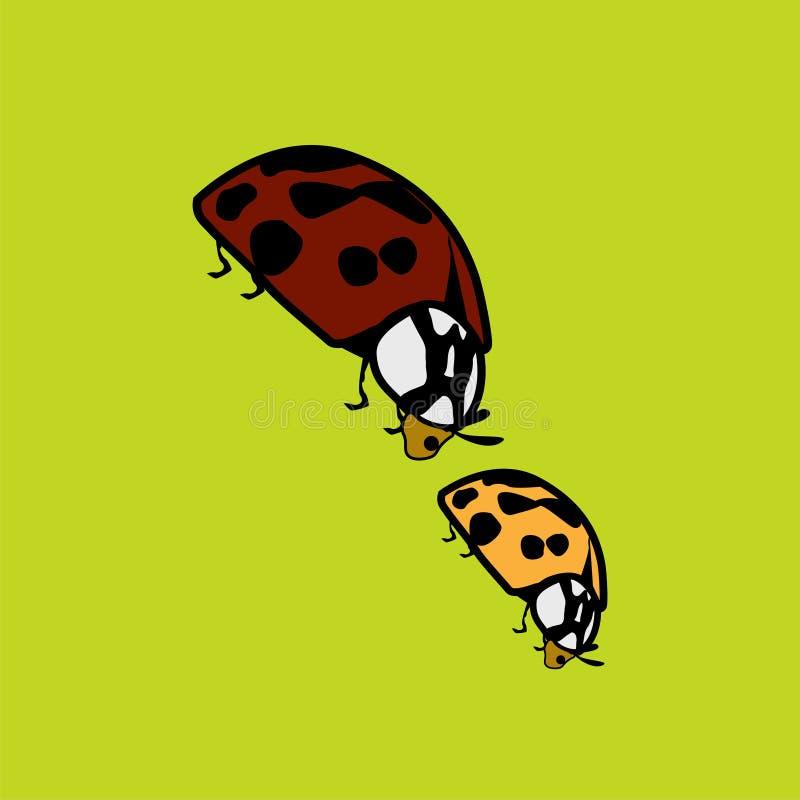 Flippige grafische Illustration von zwei Marienkäfern vektor abbildung