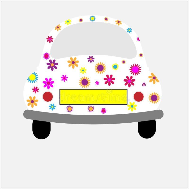 Flippige Retro- Auto-Blumen lizenzfreie abbildung