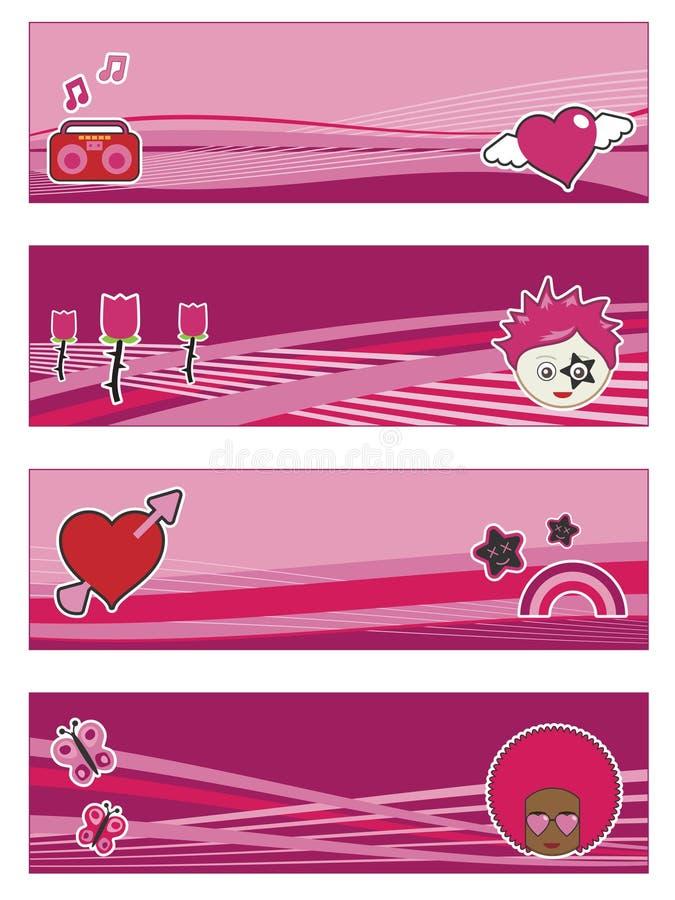 Flippige rosafarbene Fahnen lizenzfreie abbildung