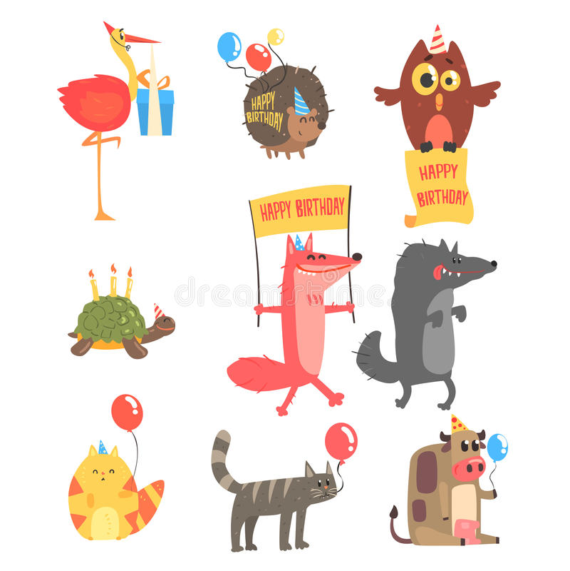 Flippige Tiere mit Partei-Attributen am Kinderalles- Gute zum Geburtstagfeier-Satz von Karikatur-Fauna-Charakteren stock abbildung