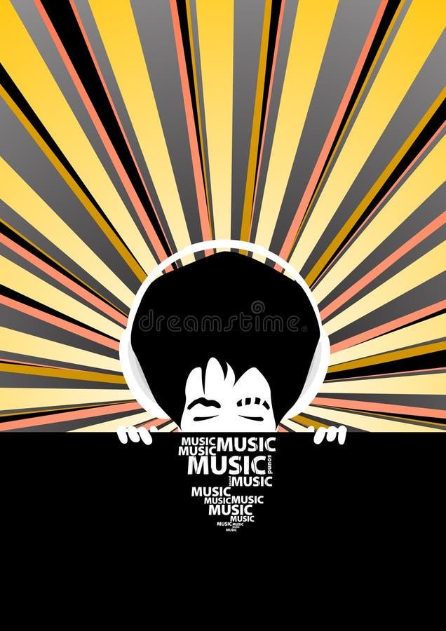 Flippiges Musikplakat mit kühlem Mann mit Kopfhörern stock abbildung