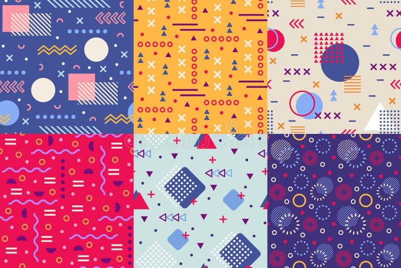 Flippiges Muster Memphis Retro- abstrakte Hintergründe der Formen 90s Nahtloser Vektorhintergrund des kreativen Formbeschaffenhei lizenzfreie abbildung