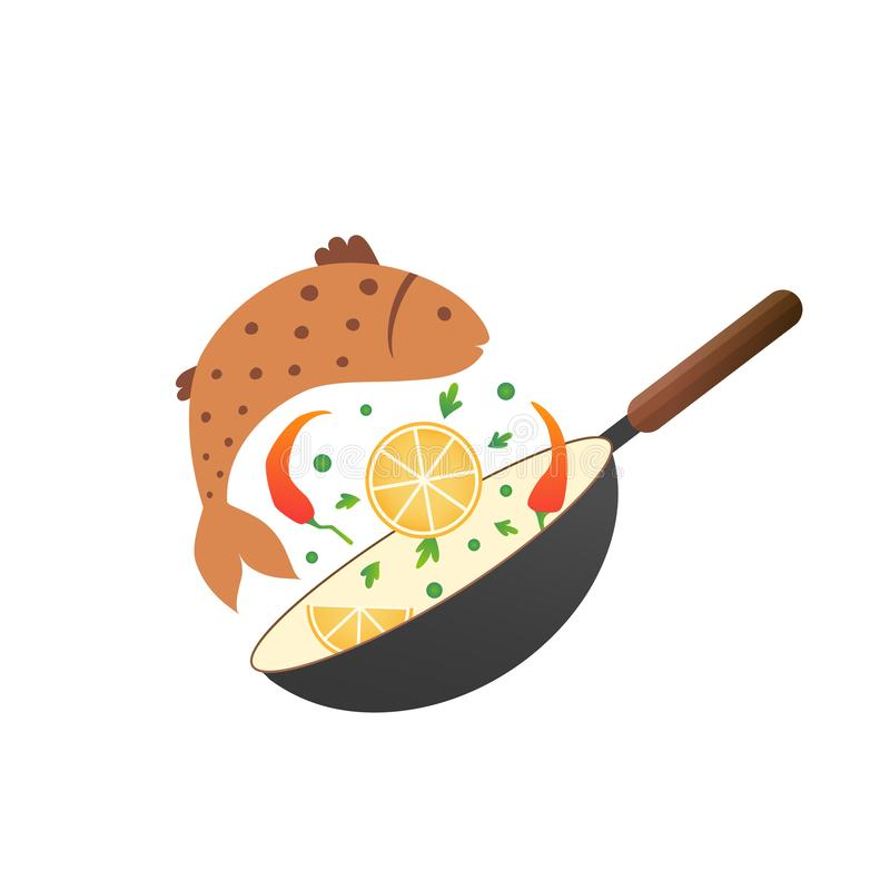 Flipping fry fish with lemon and pepper in a pan. Cartoon flat style. Cooking process vector illustration. Cooking process vector illustration. Flipping fry egg vector illustration