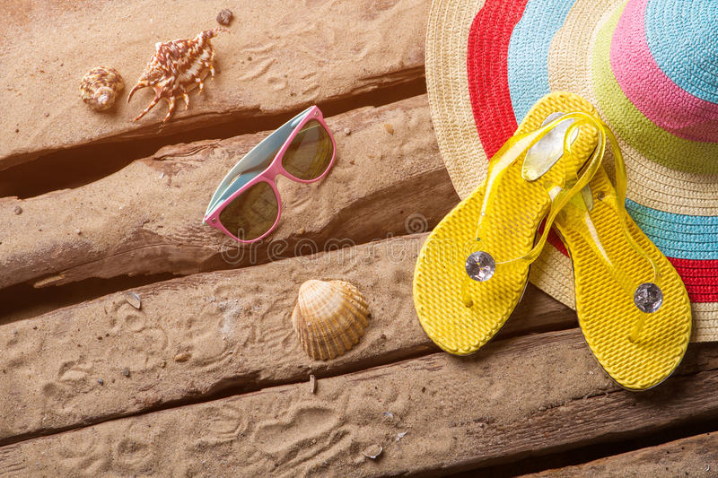 Flips flops and seashells. royalty free stock photo