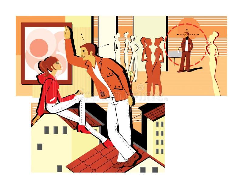 Flirt à une partie et se reposer sur le toit Un jeune homme flirte avec une fille, tenant la fleur derrière elle pickup Dater ave illustration libre de droits