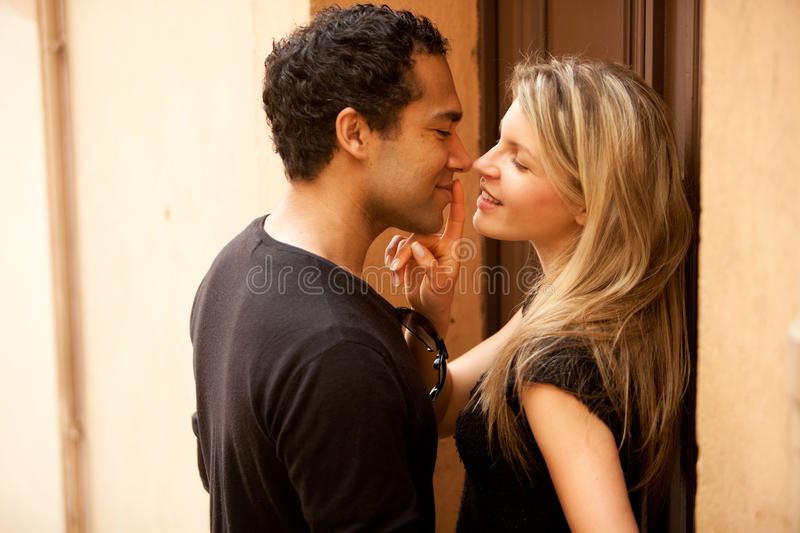 Flirt Couple Kiss royalty free stock photography