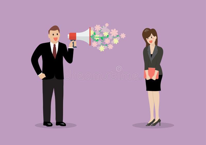 Flirt d'homme d'affaires avec une femme au travail illustration libre de droits
