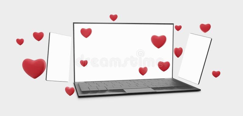 Flirt datant en ligne de téléphone portable d'ordinateur 3d-illustration en ligne illustration de vecteur