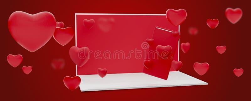 Flirt datant en ligne de téléphone portable d'ordinateur 3d-illustration en ligne illustration stock