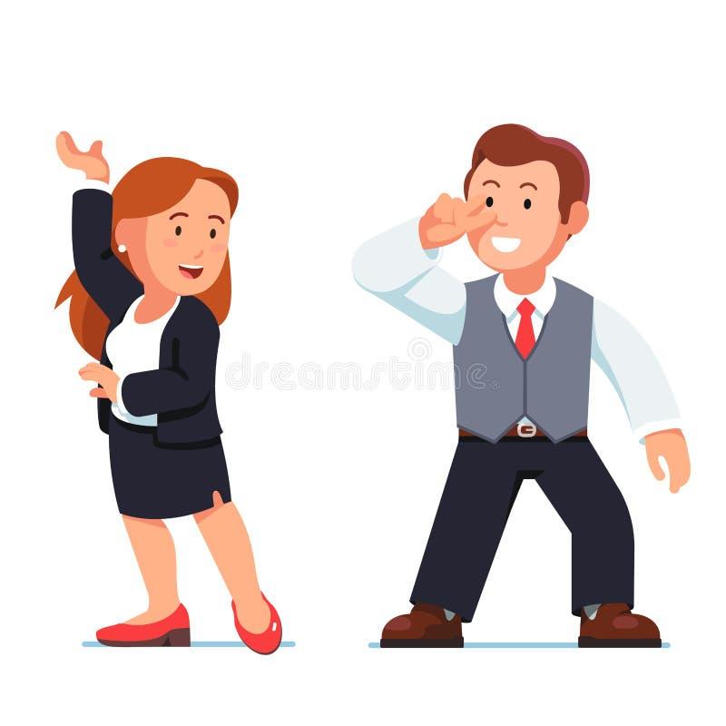 Flirt gens d'affaires d'homme et de femme de danse illustration stock