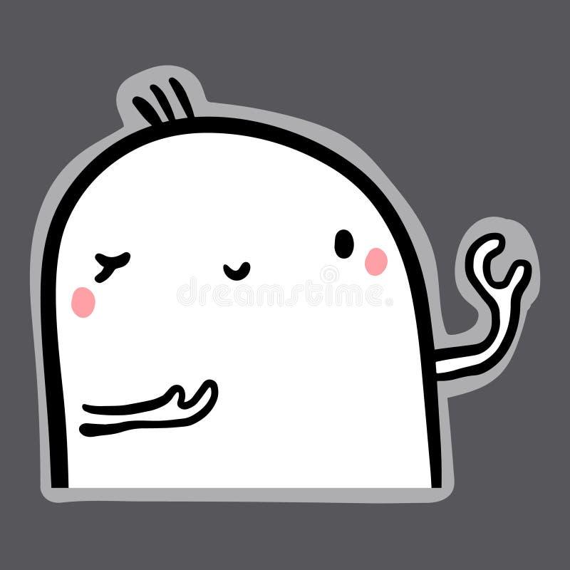 Flirt ręka rysująca ilustracja z ślicznym marshmallow w kreskówka stylu ilustracja wektor
