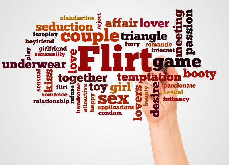 Flirt word cloud and hand with marker concept. On white background royalty free stock images