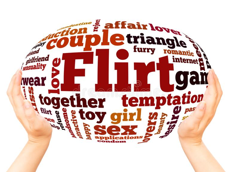 Flirt word cloud hand sphere concept. On white background royalty free stock photo