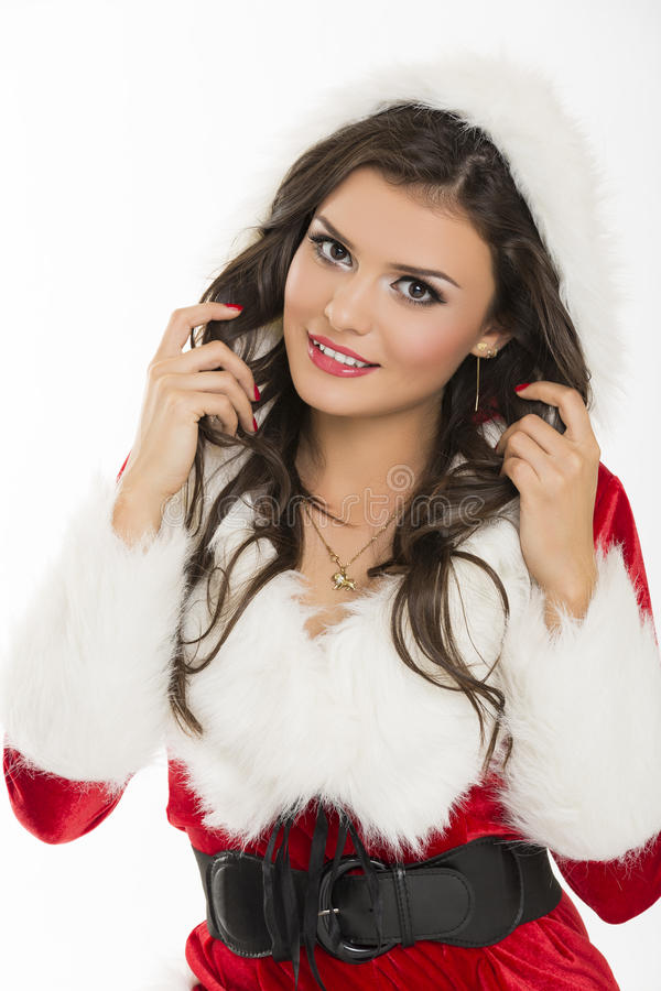 Flirtatious Santa girl royalty free stock image