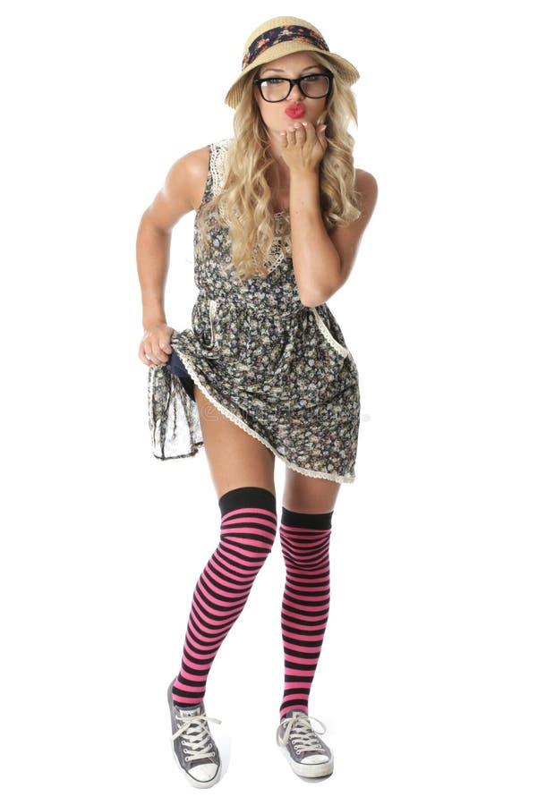 Flirtend junger Student Wearing Mini Dress lizenzfreie stockbilder