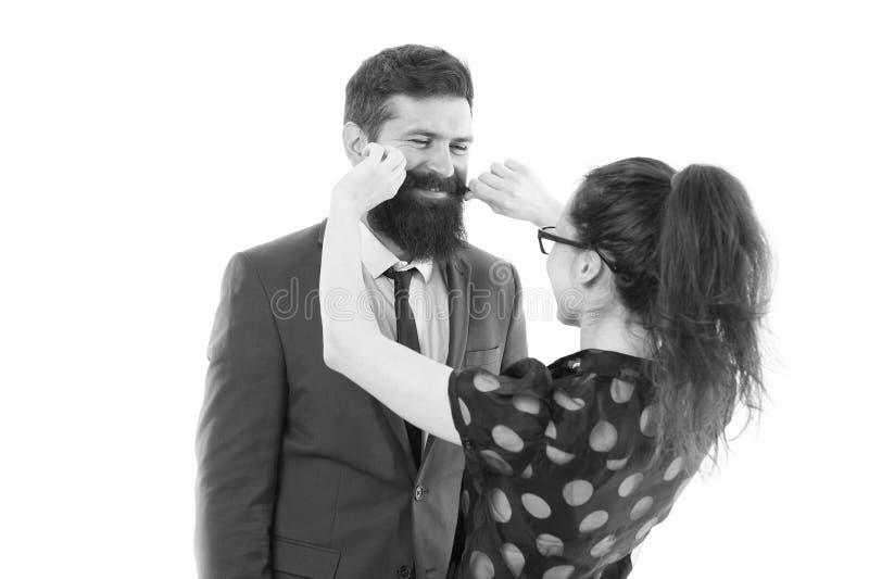 Flirter avec le patron Secrétaire séduisant Partenaires d'affaires homme à barbe et femme flirtant conférence d'affaires ou image libre de droits