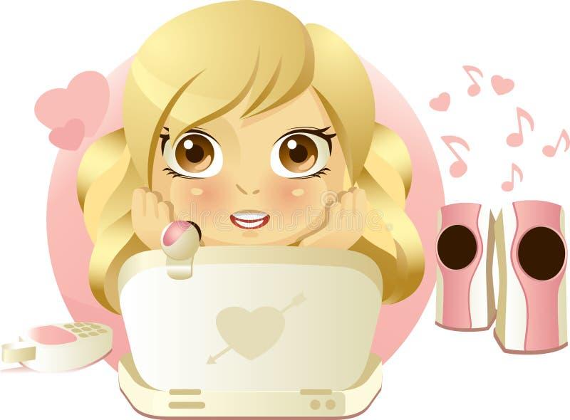 flirting девушка он-лайн иллюстрация вектора