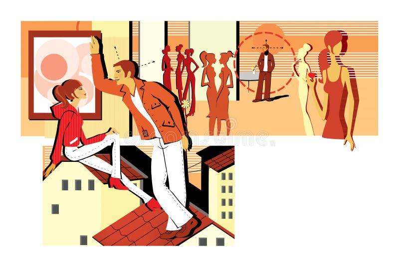 Flirting на партии и сидеть на крыше Молодой человек flirts с девушкой, держа цветок за ей приемистость Датировать с иллюстрация вектора