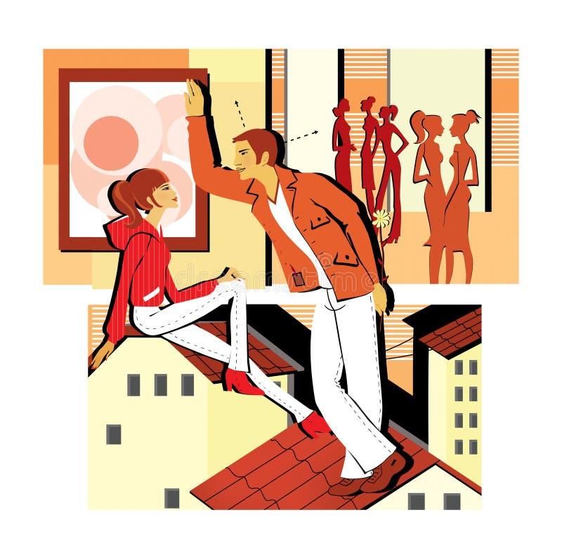 Flirting на партии и сидеть на крыше Молодой человек flirts с девушкой, держа цветок за ей приемистость Датировать с иллюстрация штока