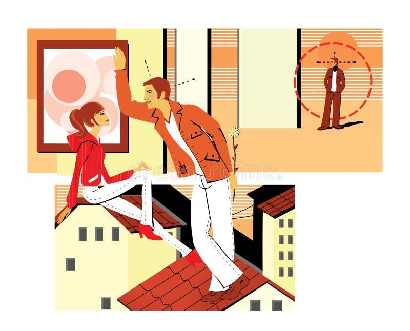 Flirting сидеть на крыше Молодой человек flirts с девушкой, держа цветок за ей приемистость Молодой человек искать иллюстрация вектора
