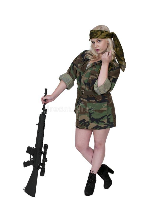 Flirting солдата женщины стоковые изображения