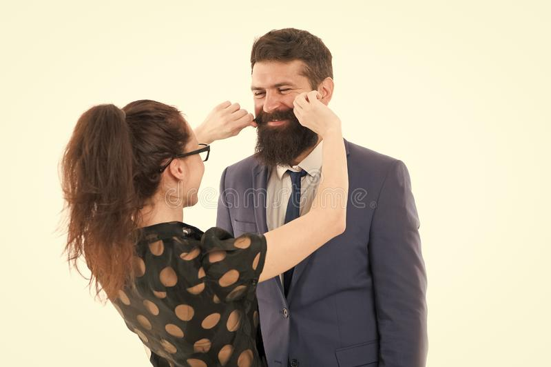 Flirting with boss. Seductive secretary. Business partners man with beard and woman flirting business conference or. Flirting with boss. Seductive secretary royalty free stock photography
