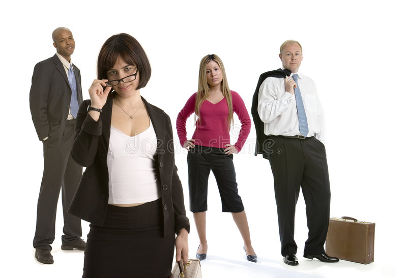 Flirting business woman with colleagues royalty free stock image
