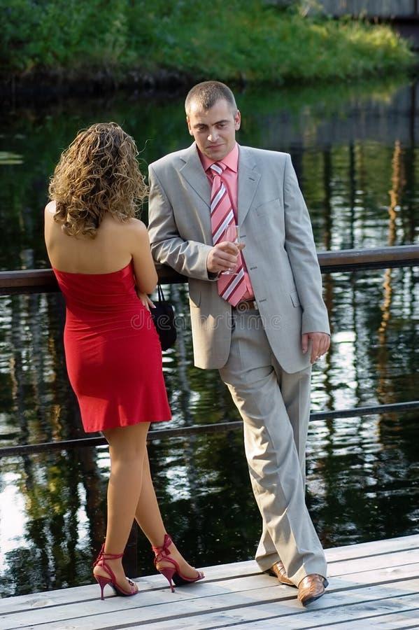 Flirting couple stock image