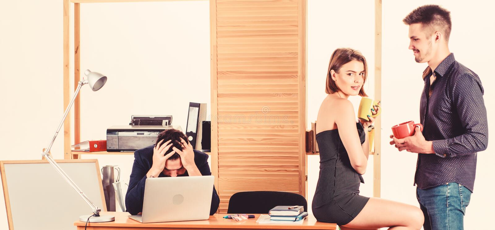Flirting with coworker coffee break. Woman flirting with coworker. Woman attractive working man colleague. Office stock photography