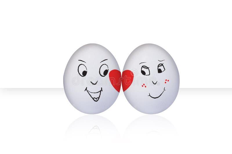 Flirting Egg on white. Flirting eggs in love, isolated on white background vector illustration