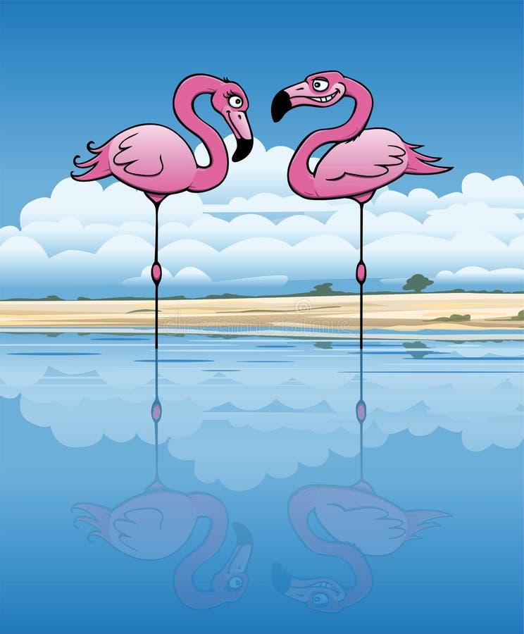Flirting Flamingos. Two flirting flamingo in an african lake stock illustration