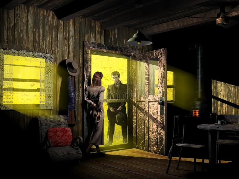 Flirting at the house`s door. Young cowboy flirting with a young woman at the door of the house where she lives vector illustration