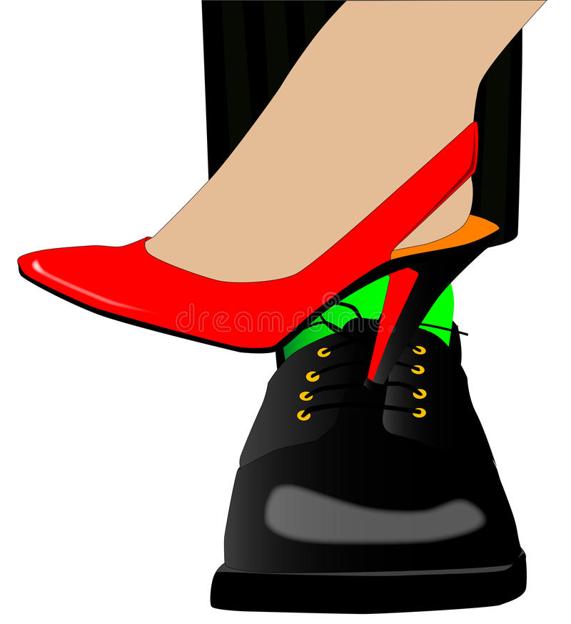 Flirting. A ladies high heel shoe, with the heal being pushed into the instep of a mans shoe, a flirting motion vector illustration