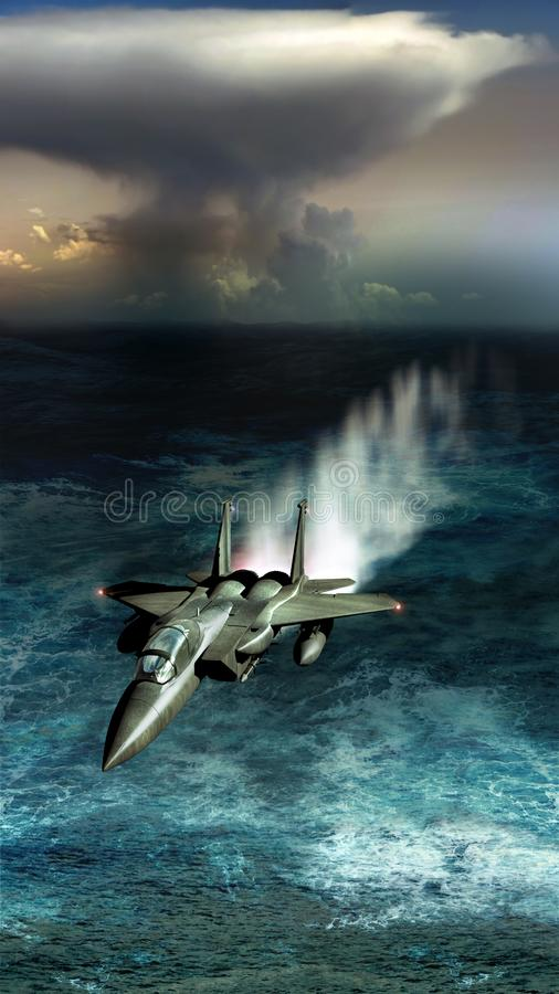 Flirting with the ocean. F15 fighter flying close to the ocean surface, its speed making the water rise, at the foreground of clouds announcing storm stock illustration