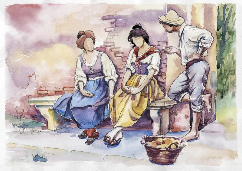 Flirting in the olden days. In watercolor technique royalty free illustration