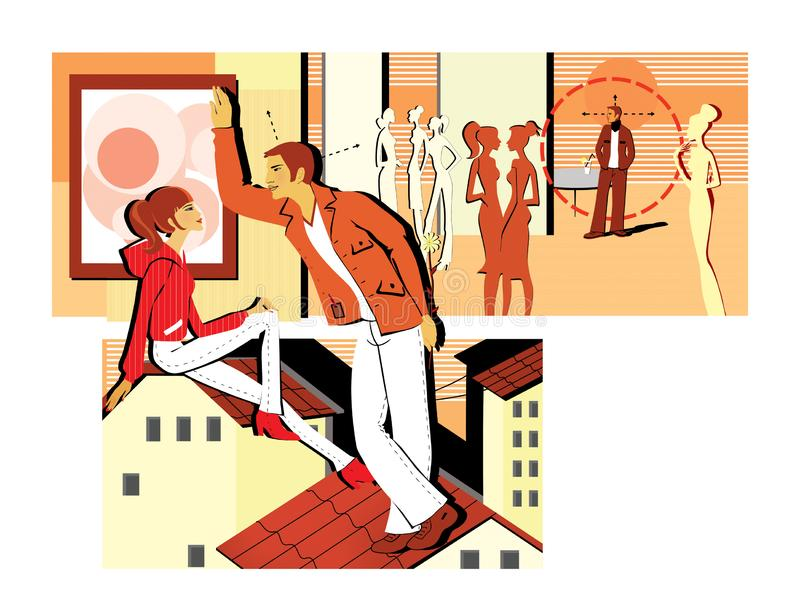Flirting at a party and sitting on the roof. A young man flirts with a girl, holding the flower behind her. Pickup. Dating with. Girls royalty free illustration