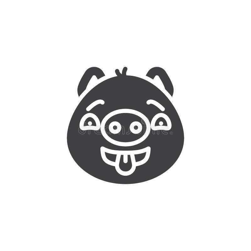 Flirting piggy значок вектора emoji стороны бесплатная иллюстрация
