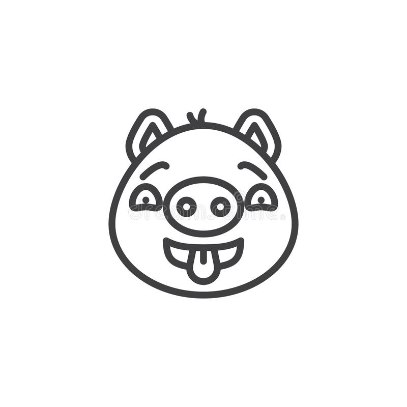 Flirting piggy face emoji line icon. Linear style sign for mobile concept and web design. Teasing piggy face emoticon showing tongue outline vector icon. Pig vector illustration