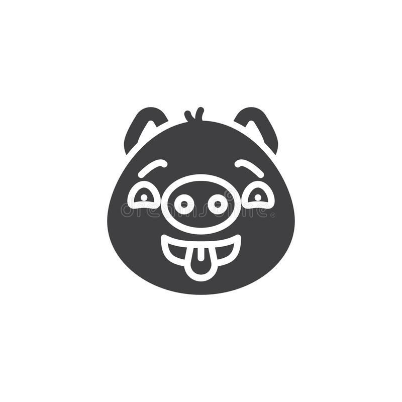 Flirting piggy face emoji vector icon. Filled flat sign for mobile concept and web design. Teasing piggy face emoticon showing tongue glyph icon. Pig year royalty free illustration