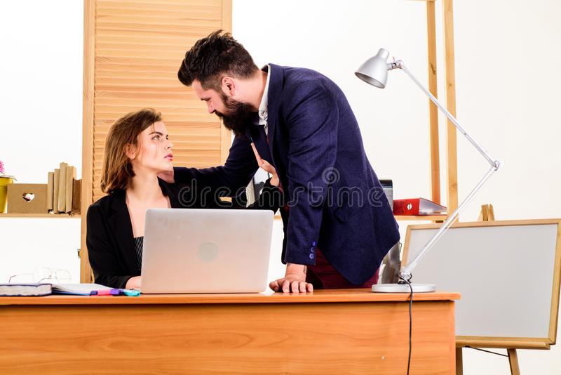Flirting and seduction. Flirting with coworker. Woman flirting with guy coworker. Woman attractive lady with man. Flirting and seduction. Flirting with coworker royalty free stock photos