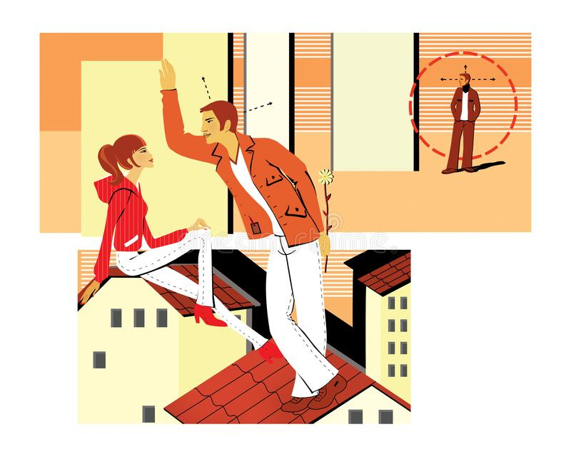 Flirting sitting on the roof. A young man flirts with a girl, holding the flower behind her. Pickup. A young man is looking for an. Object for acquaintance royalty free illustration
