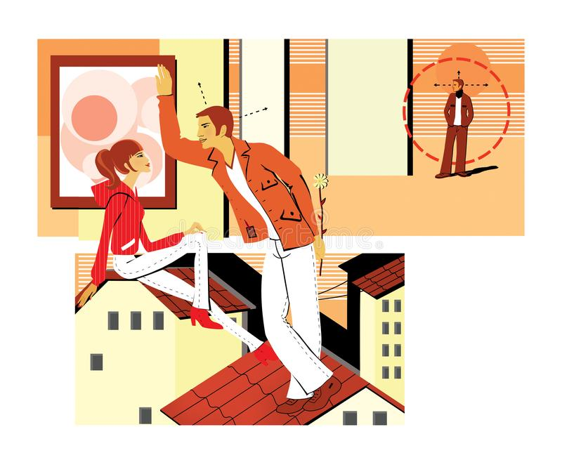 Flirting sitting on the roof. A young man flirts with a girl, holding the flower behind her. Pickup. A young man is looking for an. Object for acquaintance vector illustration