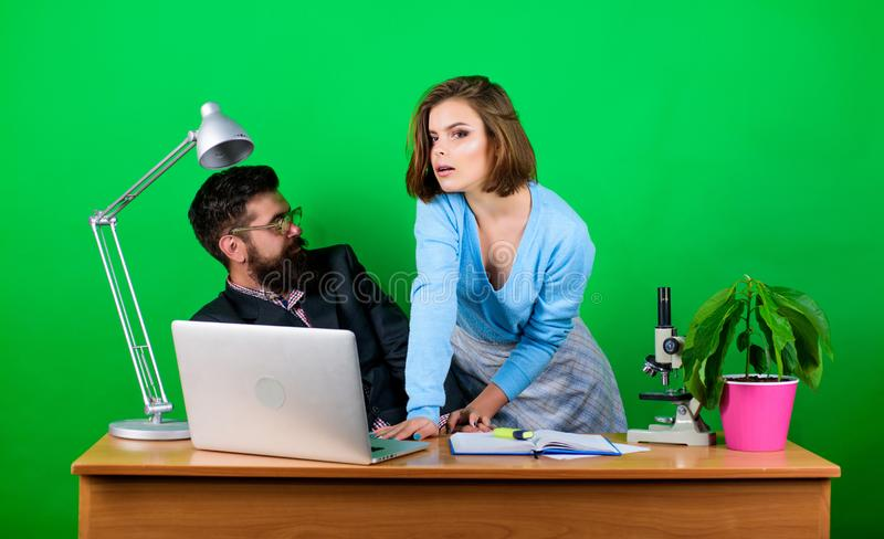 Flirting with teacher. Student sensual sexy girl and lustful experienced teacher. Teaching pleasure. Young and full stock photography