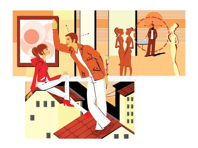 Flirtować przy przyjęciem i obsiadanie na dachu Młody człowiek flirtuje z dziewczyną, trzyma kwiatu za ona pickup Datować z royalty ilustracja