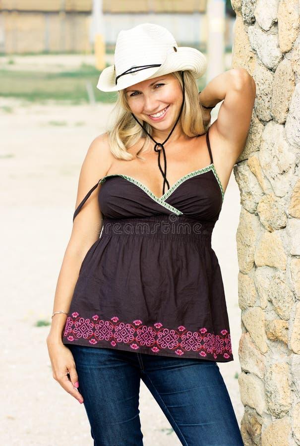 Flirty Cowgirl stockbilder
