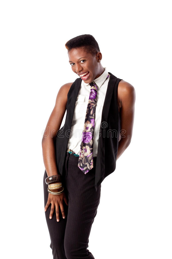 Download Flirty Girl with Neck Tie stock image. Image of business - 10850841