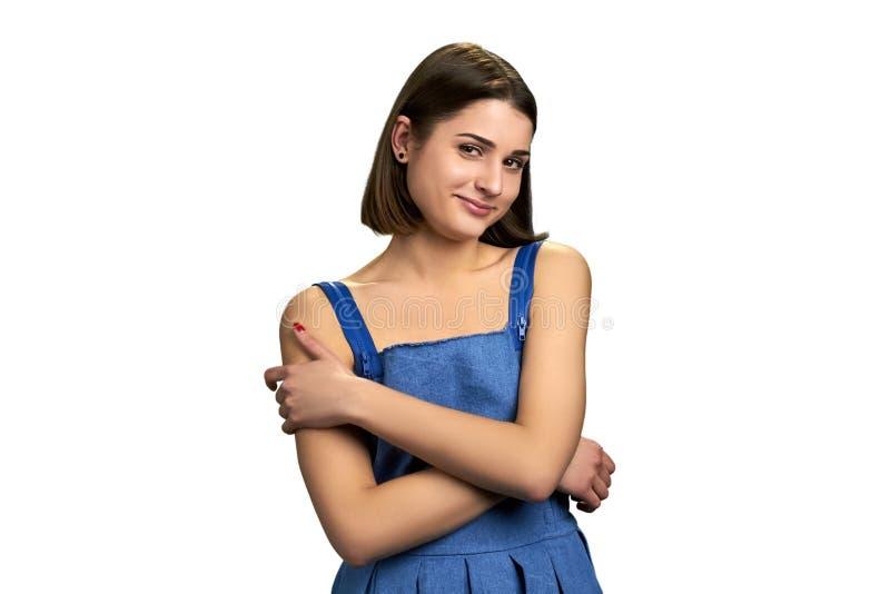 Flirty lady isolated on white background. royalty free stock photo