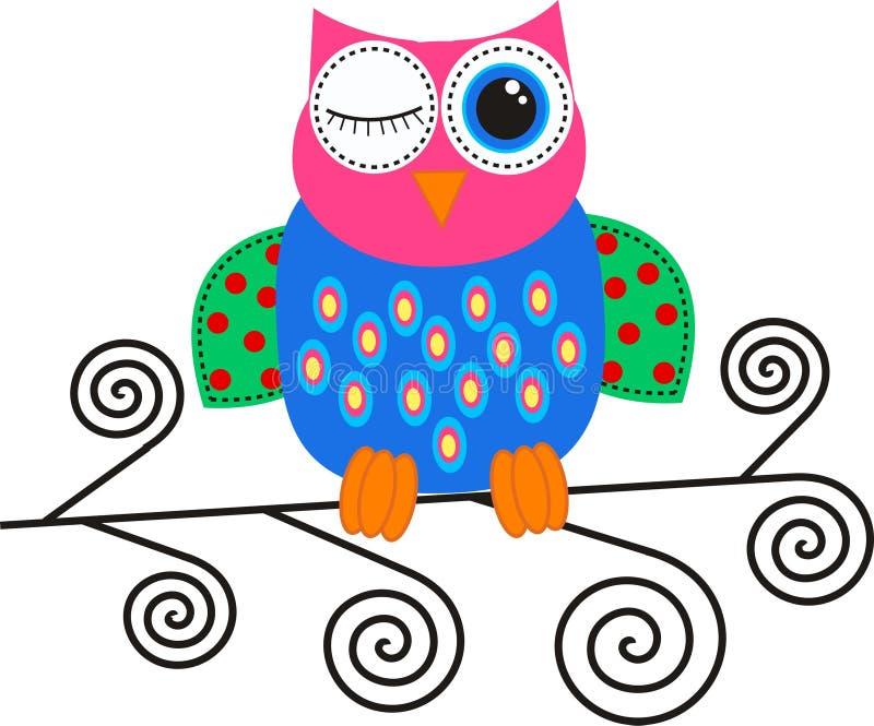 flirty owl royaltyfri illustrationer